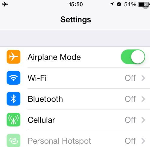 Turn On and Off the Airplane Mode